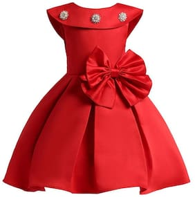 ROZZBY Girl's Satin Self design Sleeveless Gown - Red