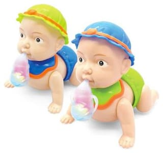 Runing and Weeping Naughty Baby Crawling Toy with Music and 3D Lights (Multicolour) By Signomark Pack Of - 1.