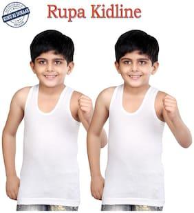 Rupa Jon White Sleeveless Vests for Kids - Pack of 2