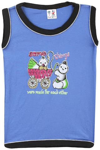 S R Kids Cotton Solid T shirt for Baby Boy - Blue
