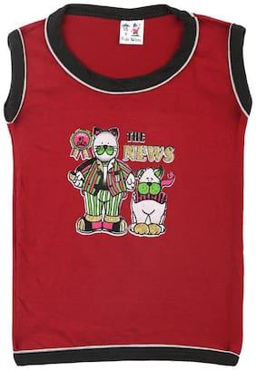 S R Kids Boy Cotton Printed T-shirt - Red