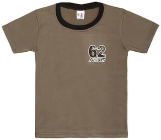 S R Kids Cotton Printed T shirt for Baby Boy - Brown