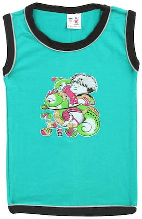 S R Kids Cotton Printed T shirt for Baby Boy - Green