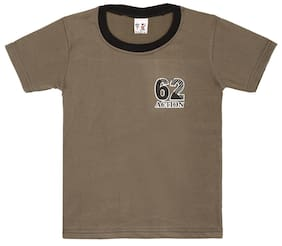 S R Kids Boy Cotton Solid T-shirt - Brown