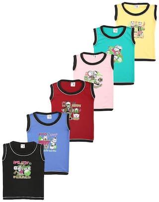 S R Kids Cotton Printed T shirt for Unisex Infants - Multi