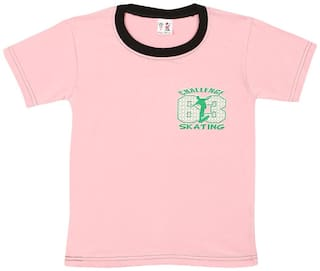 S R Kids Cotton Printed T shirt for Baby Boy - Pink