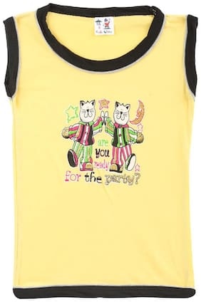 S R Kids Cotton Printed T shirt for Baby Girl - Yellow