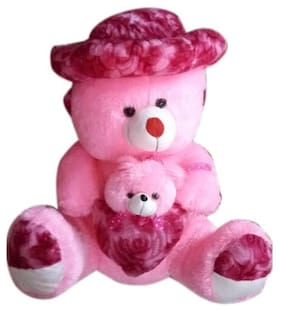 SAMAYRA TOYS Pink & Red Teddy Bear - 90 cm
