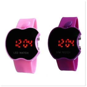 S2S Apple Shape Led Combo Pink & Purplewatch Digital Red Led Wrist Watch For Children