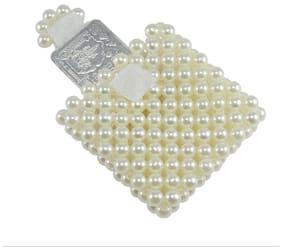 00fd6612046 Saamarth Impex Designer Loop Tape Closure Flap Coin Case Pouch With  Off-White Pearl Beaded