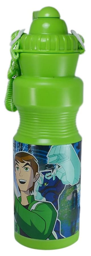 Saamarth Impex Ben 10 Green Color sipper Bottle For Multipurpose Use With High Strap SI-4535