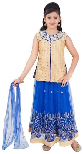 Saarah Girl Cotton Blend Self Design Lehenga Choli - Blue