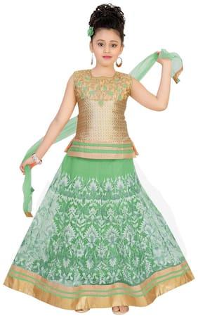 Saarah Girl's Net Embellished Sleeveless Lehenga choli - Green
