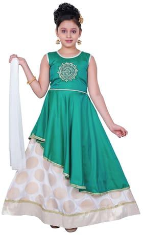 Saarah Girl Cotton Blend Self Design Lehenga Choli - Green