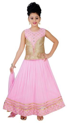 Saarah Girl Net Solid Lehenga Choli - Pink
