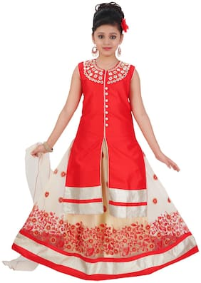Saarah Girl's Cotton blend Self design Sleeveless Lehenga choli - Red