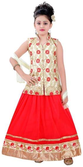 Saarah White & Red Lehenga Choli Set (emp3248)