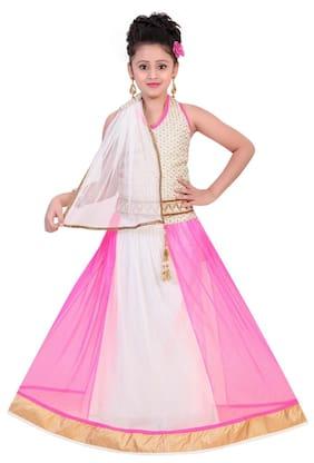 Saarah Girl Net Solid Lehenga Choli - Multi