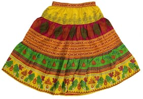 SAARVI Girl Cotton Solid Flared skirt - Multi