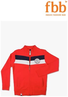 Sach Boy Cotton Solid Sweatshirt - Red