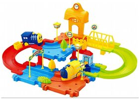 Webby Block Train Set with Upper and Lower Level and Bridge