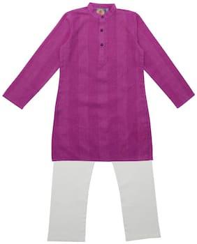 Salwar Studio Cotton Self design Top & Bottom Set - Pink