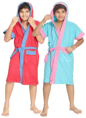 Sand Dune Red And Torquoise Bathrobe (Set Of 2) (Size-6-7 years)
