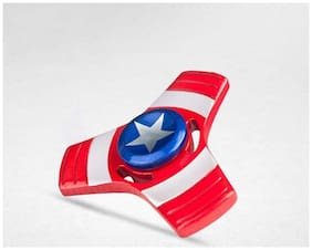 Sanyal Avengers Super Heroes Captain America Style High Quality Metal Fidget Spinner, Red Pack of 1