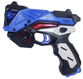Sanyal Battery Operated Pretend Play Red Musical Gun Toy with Real Reload Sound and Lights Effects  (Blue)