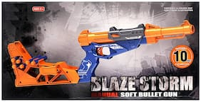Sanyal Blaze Strom Manual Soft Bullet Gun For Kids, 10 Soft Bullets Included (Multicolored)