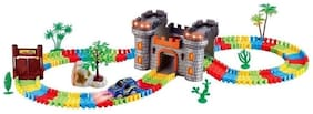 Sanyal Castle Theme Magical 158 pcs Flexible & Bendable Glow in the Dark Track Set with Car