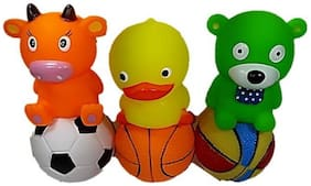 Sanyal Chu Chu Bath Buddy Toys Small Animals & Balls Toy For Baby, Non Toxic Bath Toy - 6 pcs Set (Multi-colored) Bath Toy