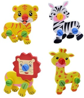 Sanyal Cute Animal Disassembly And Assembly Wooden Educational Puzzle Learning Toy For Kids Multi-colour