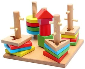 Sanyal Educational Multi Color Learning Wisdom Plate Puzzle Game Wooden Toy