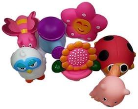 Sanyal Happy Garden Chu Chu Bath Toys For Kids (Multi-Color) - 7 PCs Set