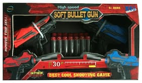 Sanyal Mini Twin 2 High Speed Soft Bullet Gun Toy with 14 Foam Bullets for Kids  (Multicolored)