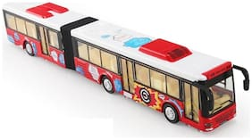 Sanyal Single Decker Long Die cast Metal Body Door Opening Luxury Blue Toy Bus with LED Light and Sound  (Red)
