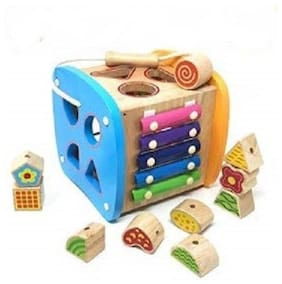 Sanyal Wooden Different Multi Function Power Box Shapes Blocks Educational Toy Set for Kids  (Multicolour)