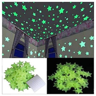Satya Vipal Green Color Fluorescent Glow in The Dark Star Wall Sticker