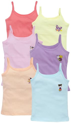 Savage Cotton Solid Assorted Color Camisole For Girl (Pack Of 6)