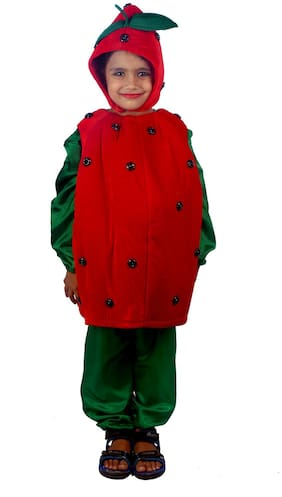 Sbd Red Strawberry Fruit Fancy Dress Costume (Size-2 to 4 Years)