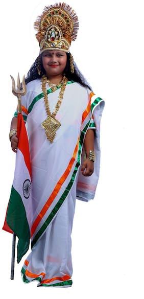 Sbd White Bharat Mata Fancy Dress Costume (2 To 4 Years)