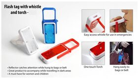 Safety Whistle with tourch and Flash For Dark Area for Childen and Women Set of 2 pcs Assorted