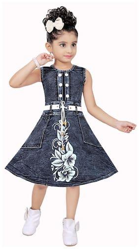 SECCA Baby girl Denim Printed Princess frock - Blue