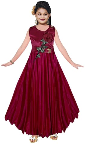 SECCA Baby girl Satin Embroidered Princess frock - Maroon