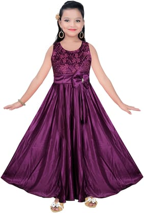 SECCA Purple Satin Sleeveless Maxi Princess Frock ( Pack of 1 )