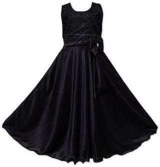 SECCA Black Satin Sleeveless Maxi Princess Frock ( Pack of 1 )