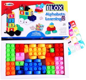 Seekho Blocks Creative & Learning Educational Train Blocks Toy, Toy Set containing Alphabet and Number Stickers for Kids + 3 Years