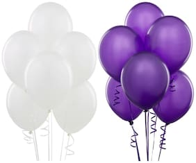 Seema Creations White and Purple Party Balloons - Pack of 50