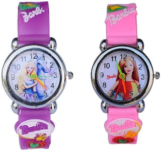 selloria Rubber Band Analogue Kids Watches Combo for Girls (Pink & Purple)